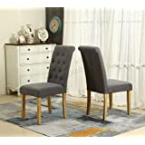 WestWood Furniture Set of 6 Premium Grey Linen Fabric Dining Chairs Roll Top Scroll High Back with Solid Wood Legs Seat Contemporary Modern Look DCF02 Living Room Lounge Office