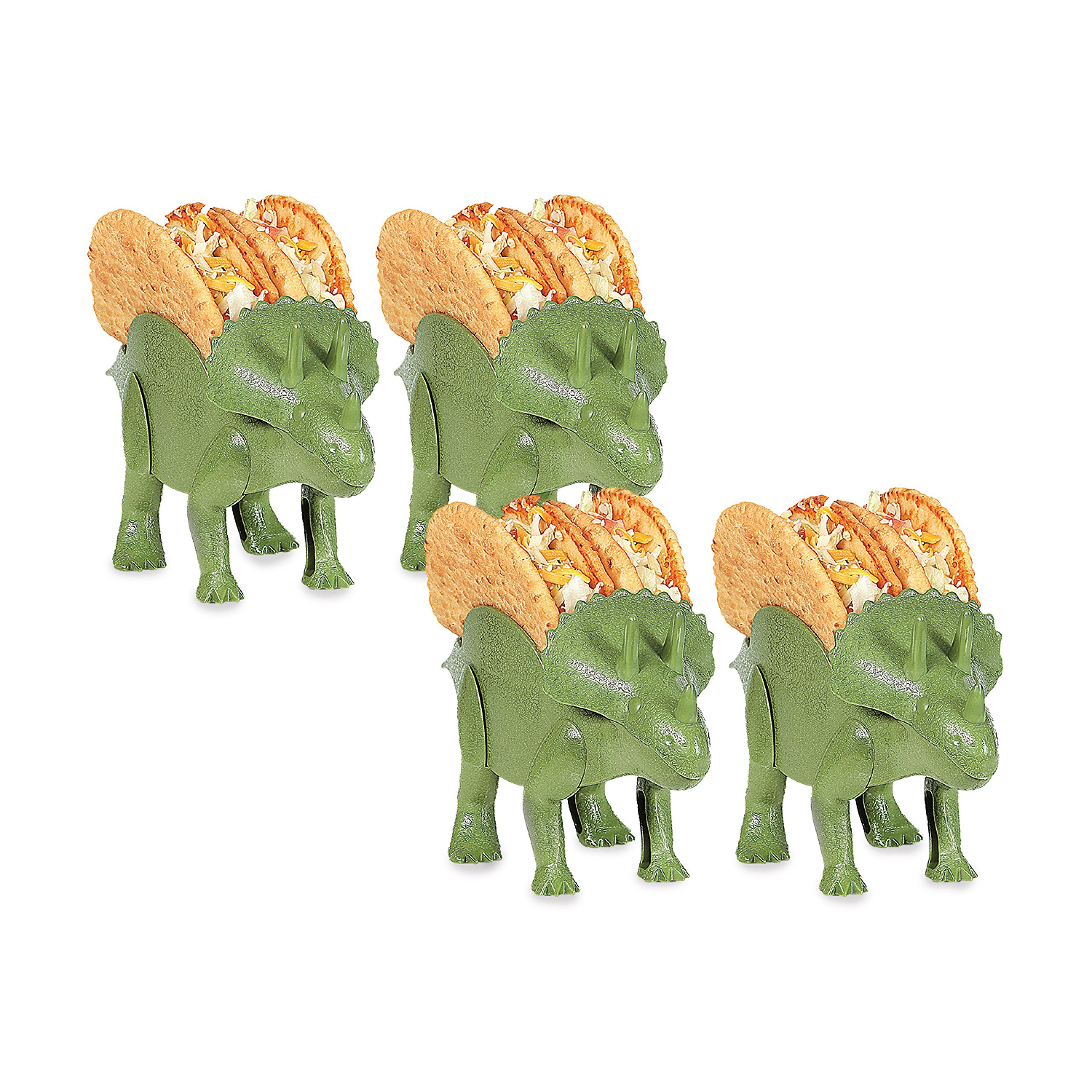 4-Pack Dino Taco Holder, Novelty Dino Taco Holders for Kids, 10''x5.5 Triceratops Taco Holder, Fun Taco Holders for #TacoTuesday, Green Taco Triceratops, Dinosaur Taco Holder for Indoor and Outdoor Pic