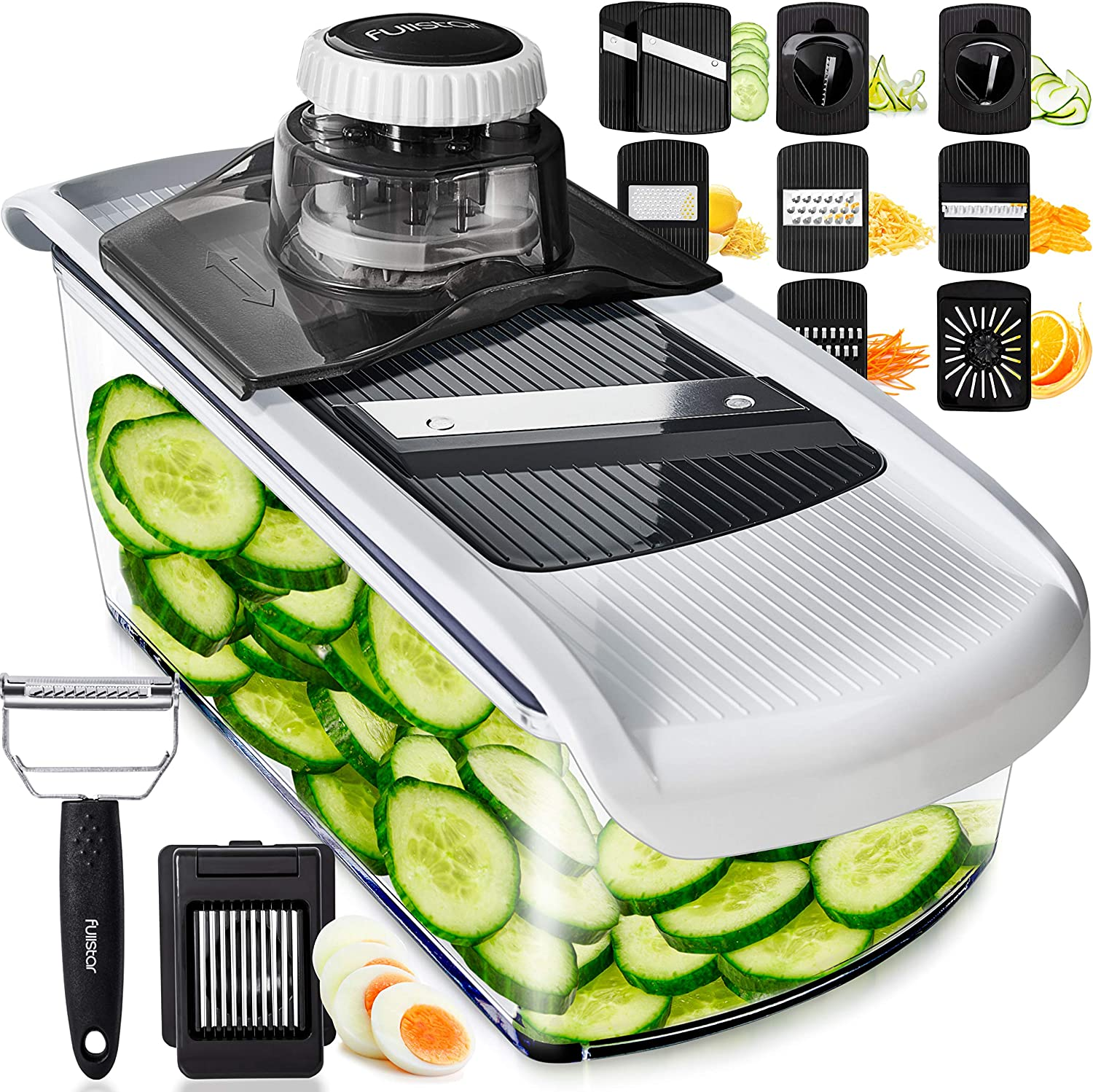 Mandoline Slicer Vegetable Slicer and Vegetable Grater - Potato Slicer Food Slicer Veggie Slicers Mandoline Slicer Cutter Grater - Veggie Slicer Onion Slicer Fruit Slicers for Fruits and Vegetables