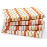 Cotton Craft - 4 Pack Oversized Kitchen Towels, 20x30 - Coral, Pure 100% Cotton, Crisp Basket weave striped pattern, Convenient hanging loop - Highly absorbent, Professional Grade, Soft yet Sturdy