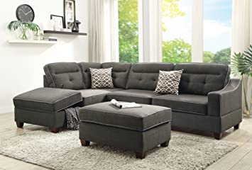 Living Room 3pcs Sectional W Ottoman Bobkona Reversible Chaise W Storage  Sofa W Pillows Tufted Ash
