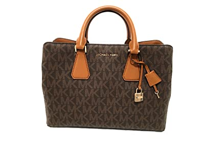 8a94acc2834d Amazon.com  Michael Kors Camille Savannah Large Satchel Brown MK Acorn  Crossbody Bag  Shoes