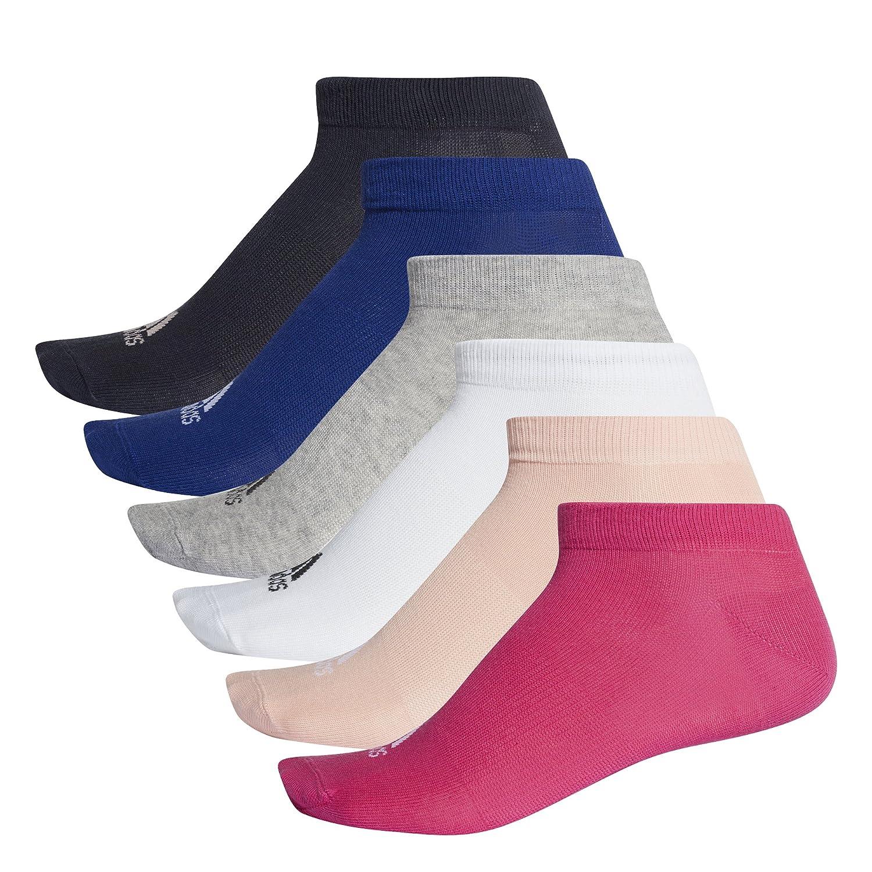 adidas Unisex Performance No-Show Socks (Pack of 6 pairs), Real Magenta/Medium Grey Heather/Haze Coral/White, 6-8.5 DM5592