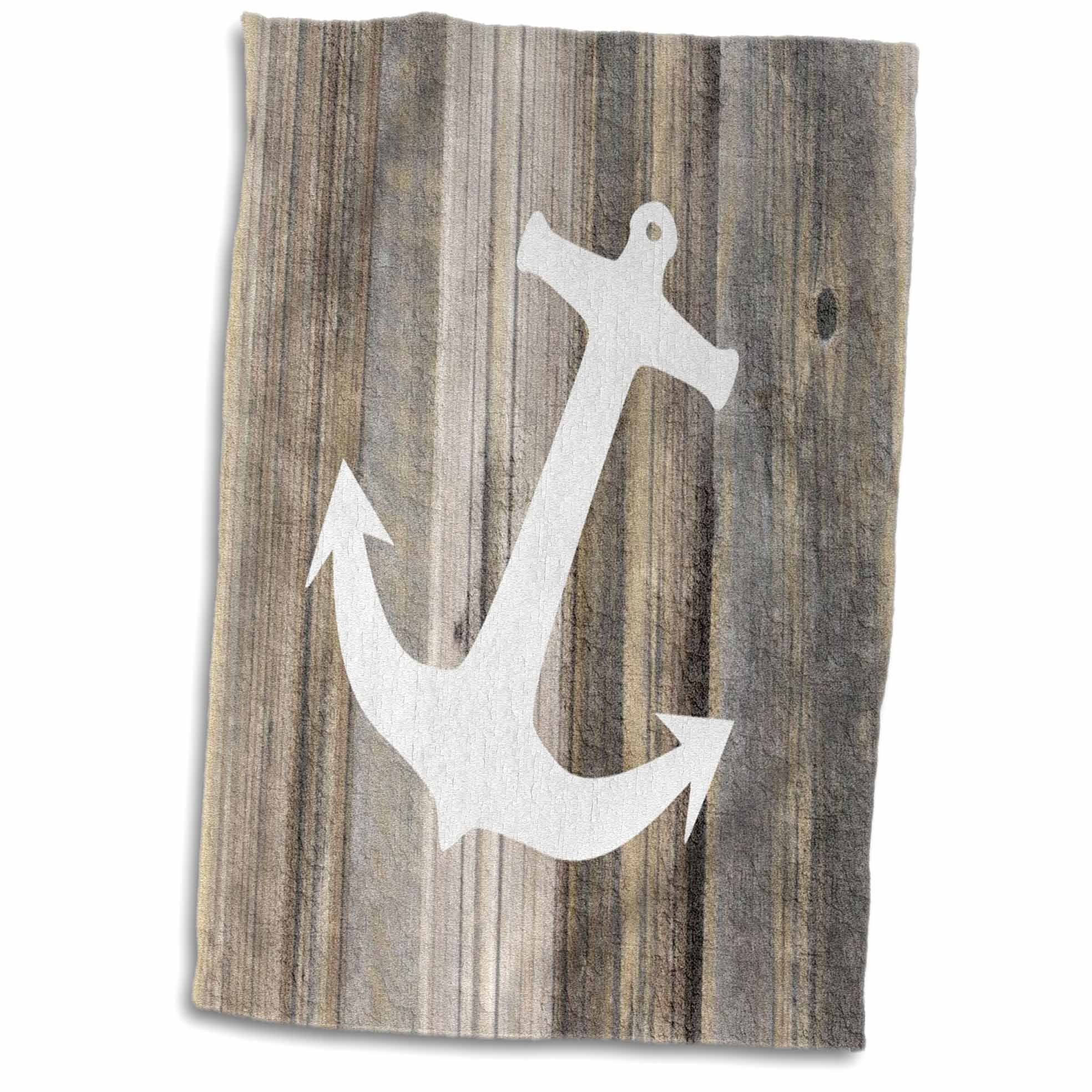 3D Rose Image of White Anchor On Weathered Planks Hand Towel, 15'' x 22''