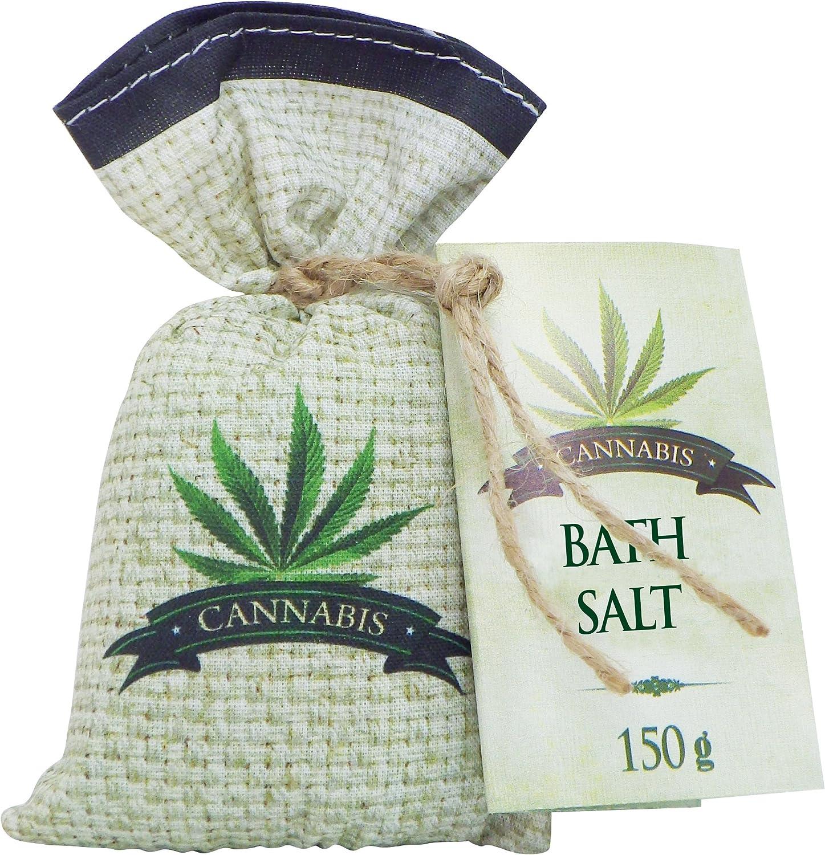 Sal de baño de cannabis de 150 g con aceite de semilla de cáñamo, hecho a mano