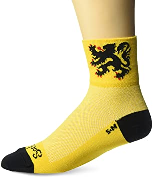 SockGuy Mens Lion Of Flanders Socks, Yellow, S-M/5-9 Men