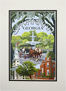 product image for Savannah, Georgia - Town Views (11x14 Double-Matted Art Print, Wall Decor Ready to Frame)