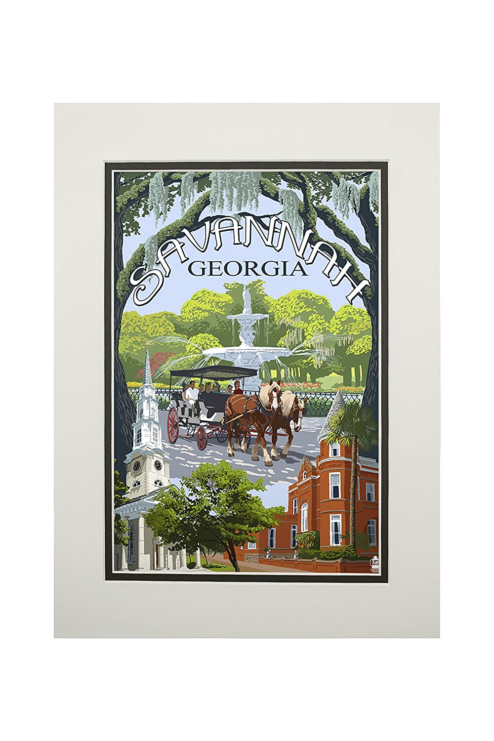 夏セール開催中 MAX80%OFF! Savannah, Art Georgia Town by Views (9x12 Art Art Print, Wall Decor Travel Poster) by Lantern Press B06XZPG624 11 x 14 Matted Art Print 11 x 14 Matted Art Print, 自転車通販CANDY:1d28ddeb --- arianechie.dominiotemporario.com