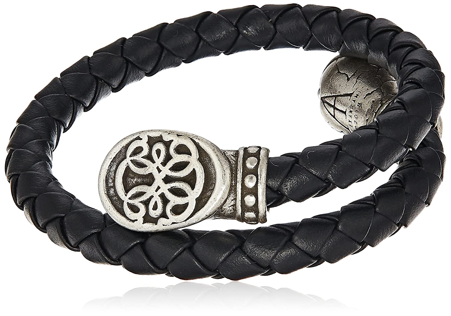 Alex and Ani Men's Braided Leather Wrap Bracelet, Path of Life, Rafaelian Silver, Expandable A18MLWPOLRS