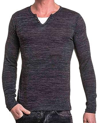 a2173b4e1e45e BLZ Jeans - Pull Homme Fin Noir col V - Couleur  Noir - Taille  XL ...