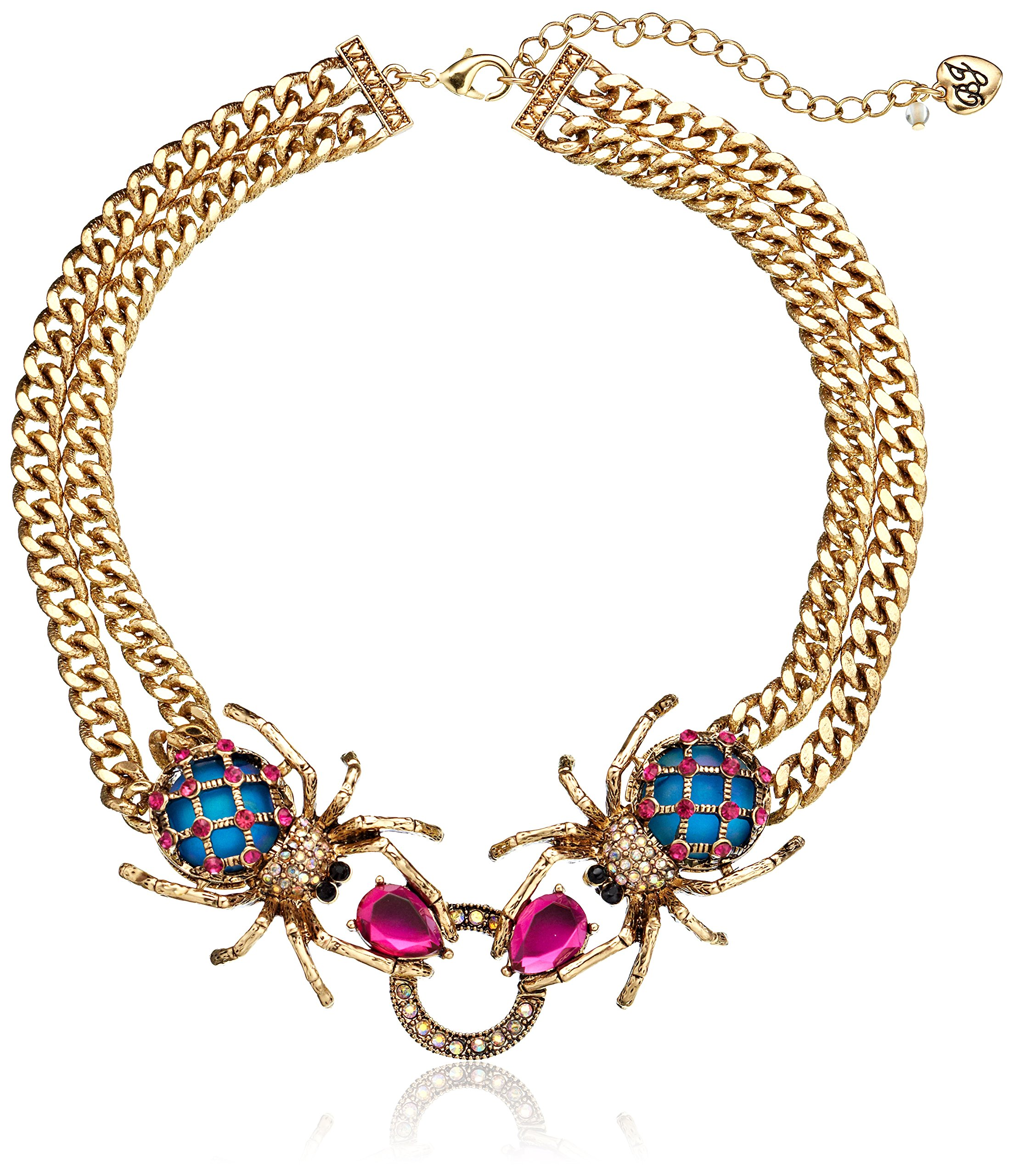 Betsey Johnson ''Creep Show Double Spider Necklace