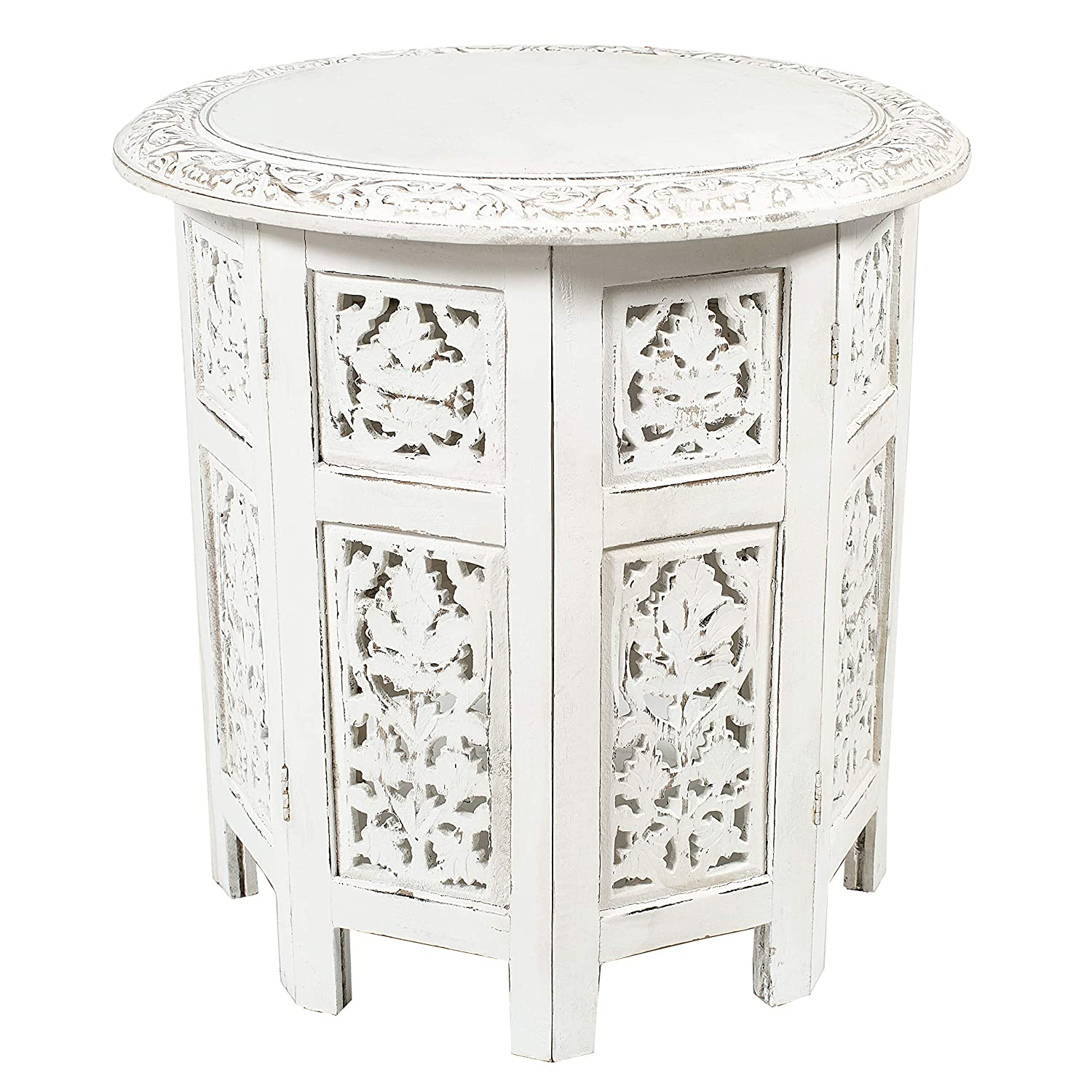 Cotton Craft - Jaipur Solid Wood Handcrafted Carved Folding Accent Coffee Table - Antique White - 18 Inch Round Top x 18 Inch High