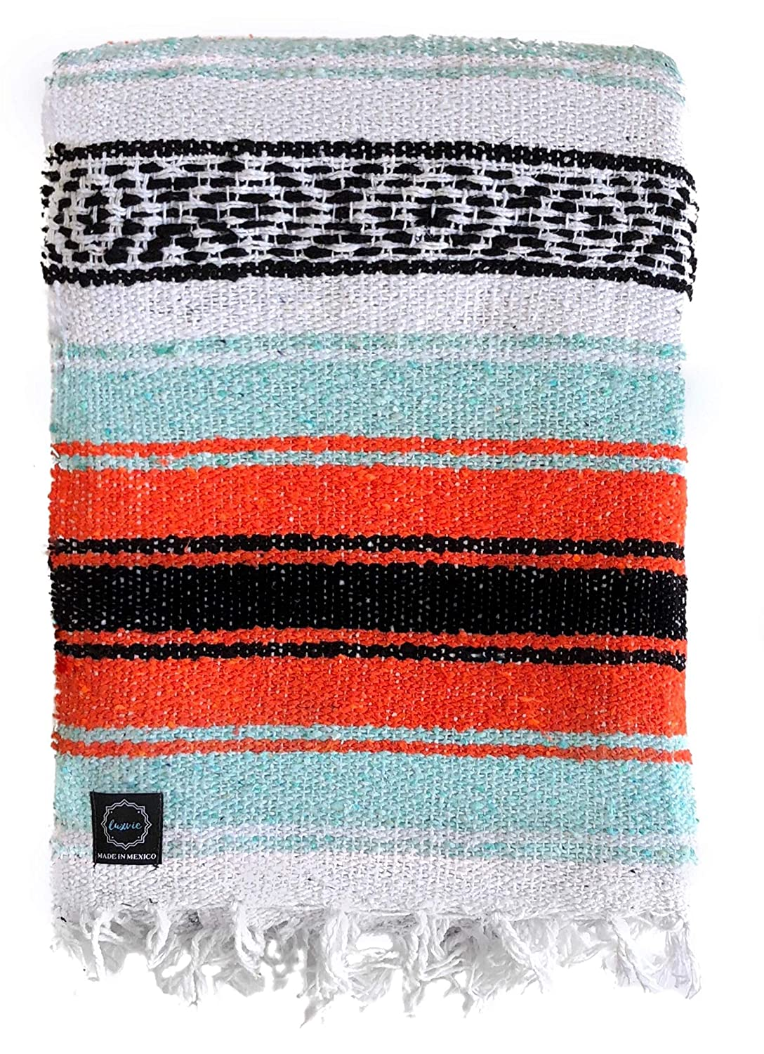 luxvie Mexican Blanket Designs: Authentic Large Falsa Blanket Ideal for Outdoors, Camping, Yoga, Home Decor, Beach, Etc. in Soft Acrylic Blend ...