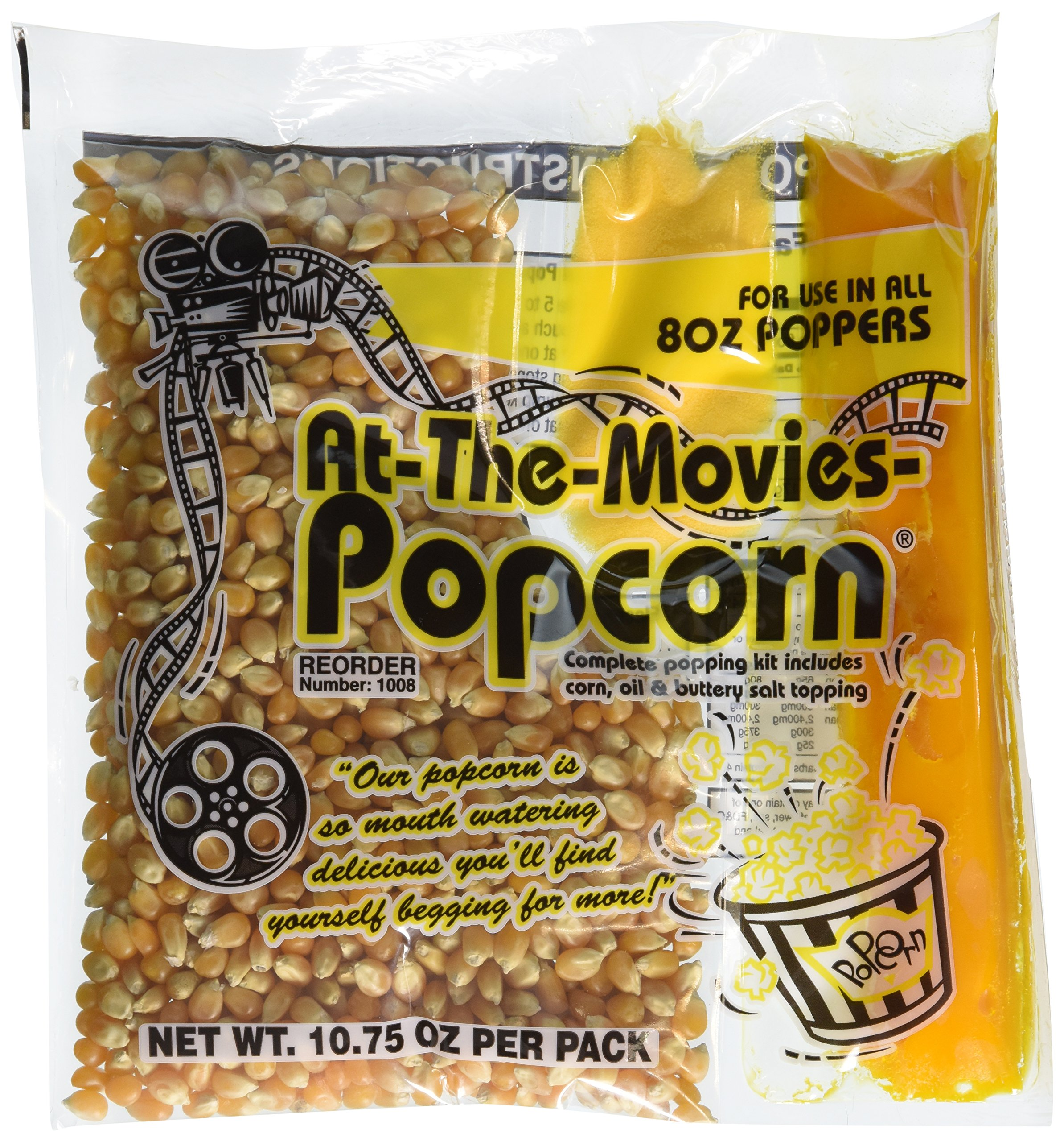 At-The-Movies Popcorn & Coconut Oil Portion Packs-Case of 24 (8oz Kettle) by At-The-Movies-Popcorn