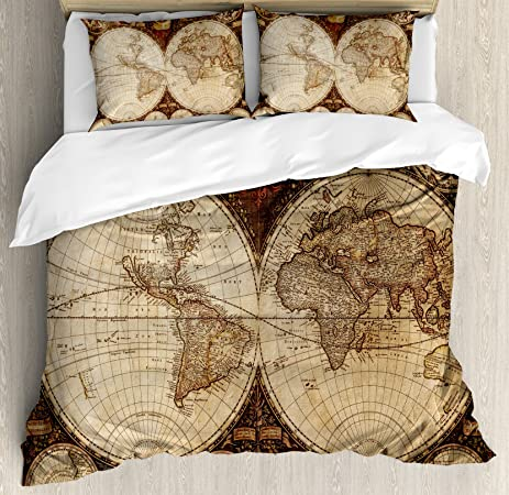 Amazon wanderlust decor king size duvet cover set by wanderlust decor king size duvet cover set by ambesonne old world map made in 1720s gumiabroncs Gallery