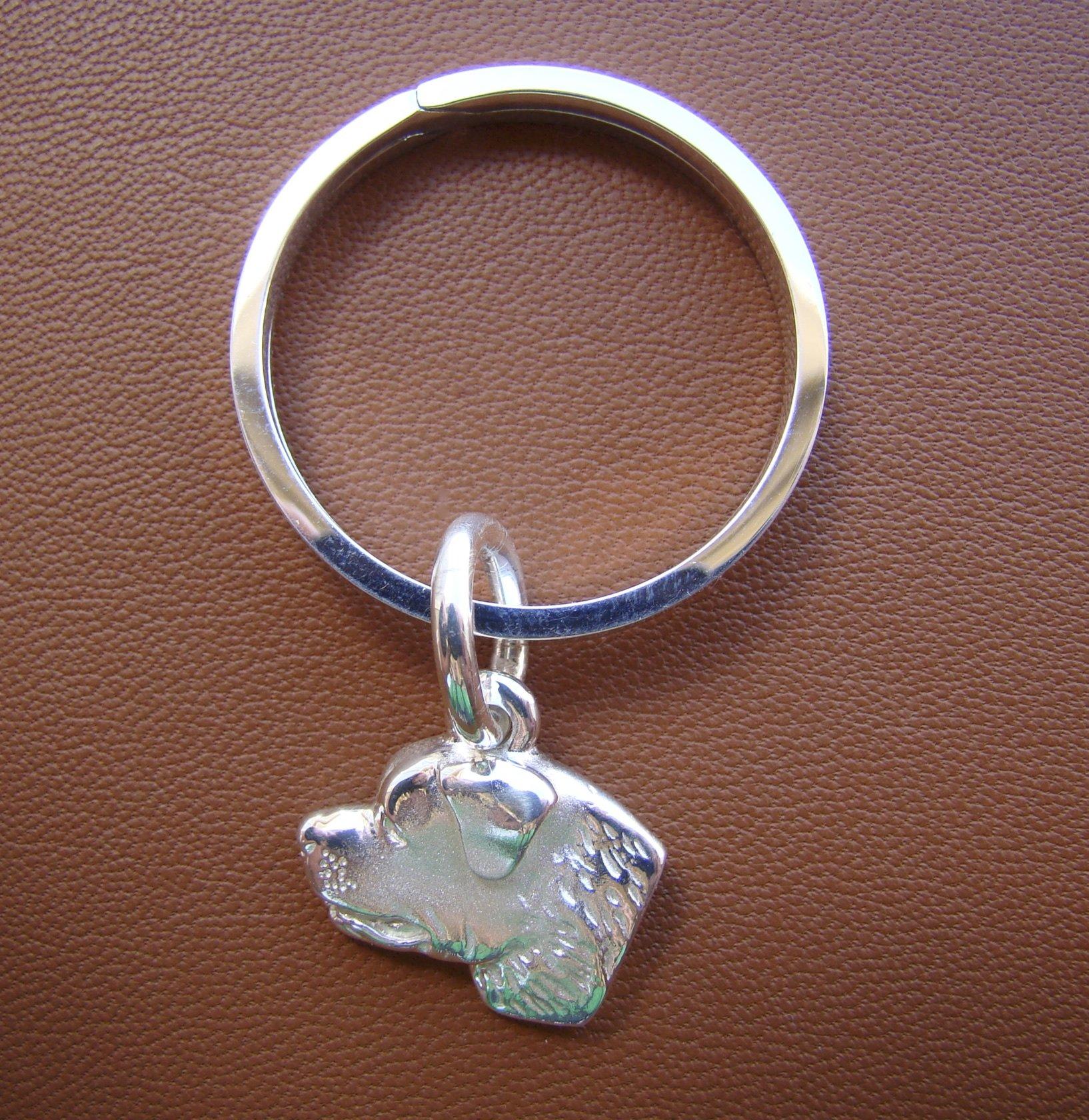 Sterling Silver Rottweiler Head Study Key Ring by Bestk9buds