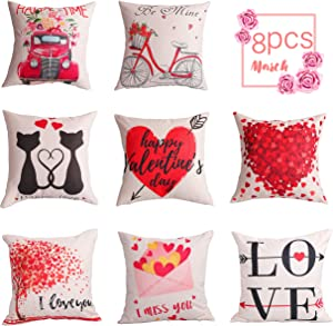 Geefuun 8PCS Valentine's Day Throw Pillow Case Decorations - Valentine Linen Cushion Cover 18 x 18 Inches Pink Truck Red Heart Love Bicycle Gift Decor for Sofa Couch