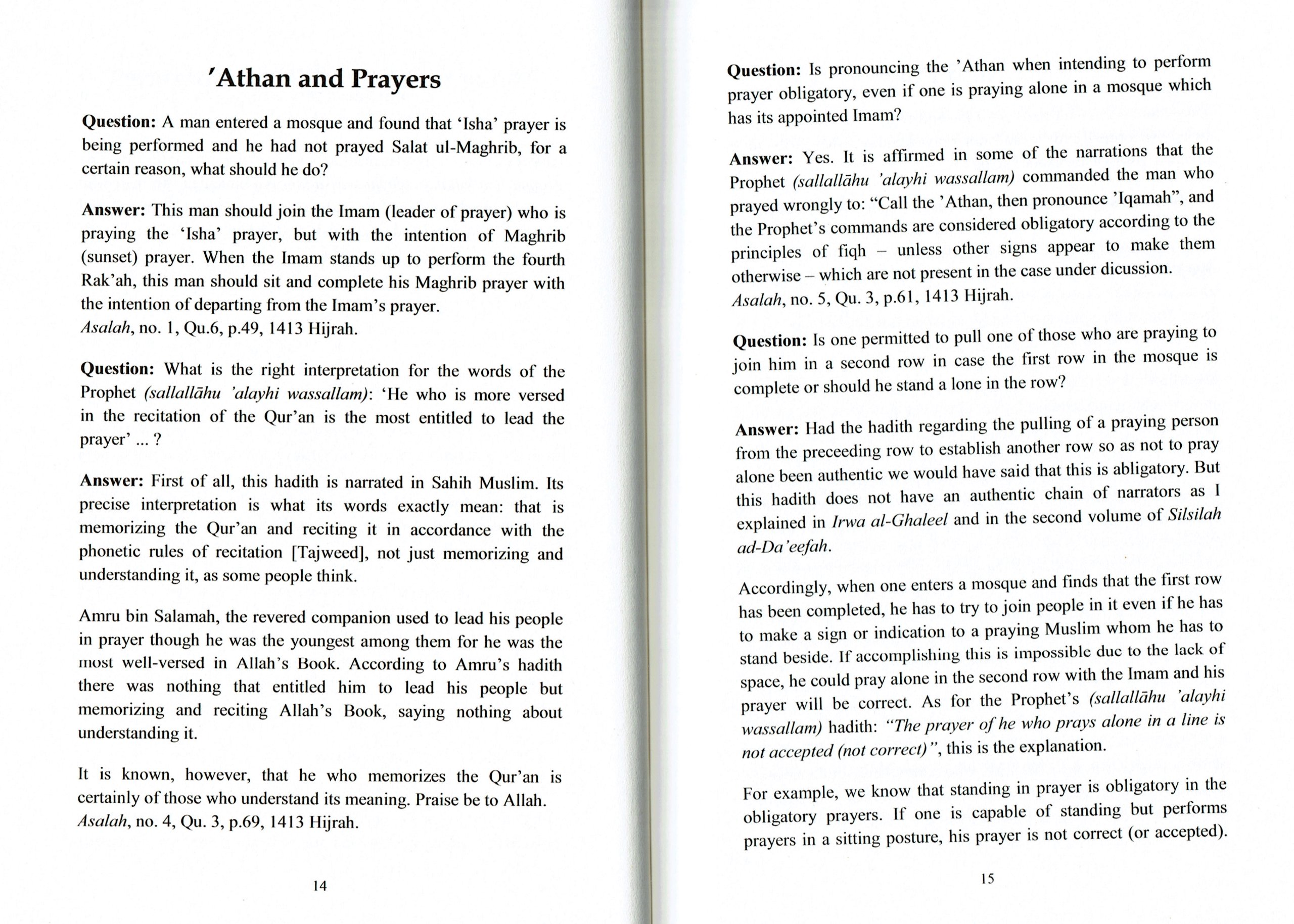 The Fatwas of Imam Al Albani Regarding Fiqh, Creed