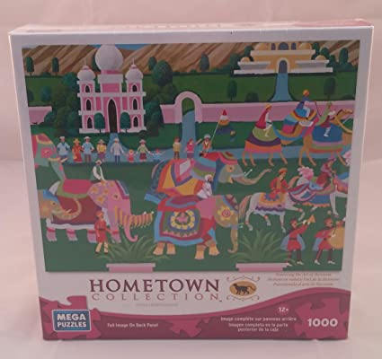 Amazon.com : Mega Puzzles Hometown Collection Elephant Festival Featuring The Art of Heronim : Everything Else