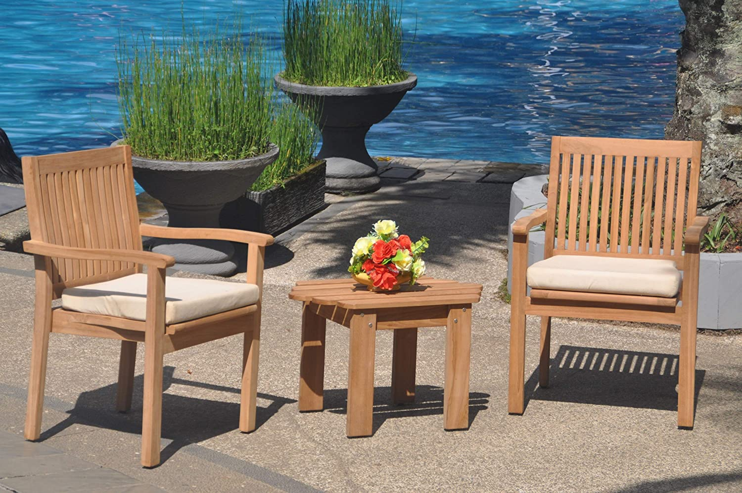 2 Seats 3 Pcs Grade-A Teak Wood Dining Set: Adirondack Side Table and 2 Leveb Stacking Arm Chairs #WHDSLV10