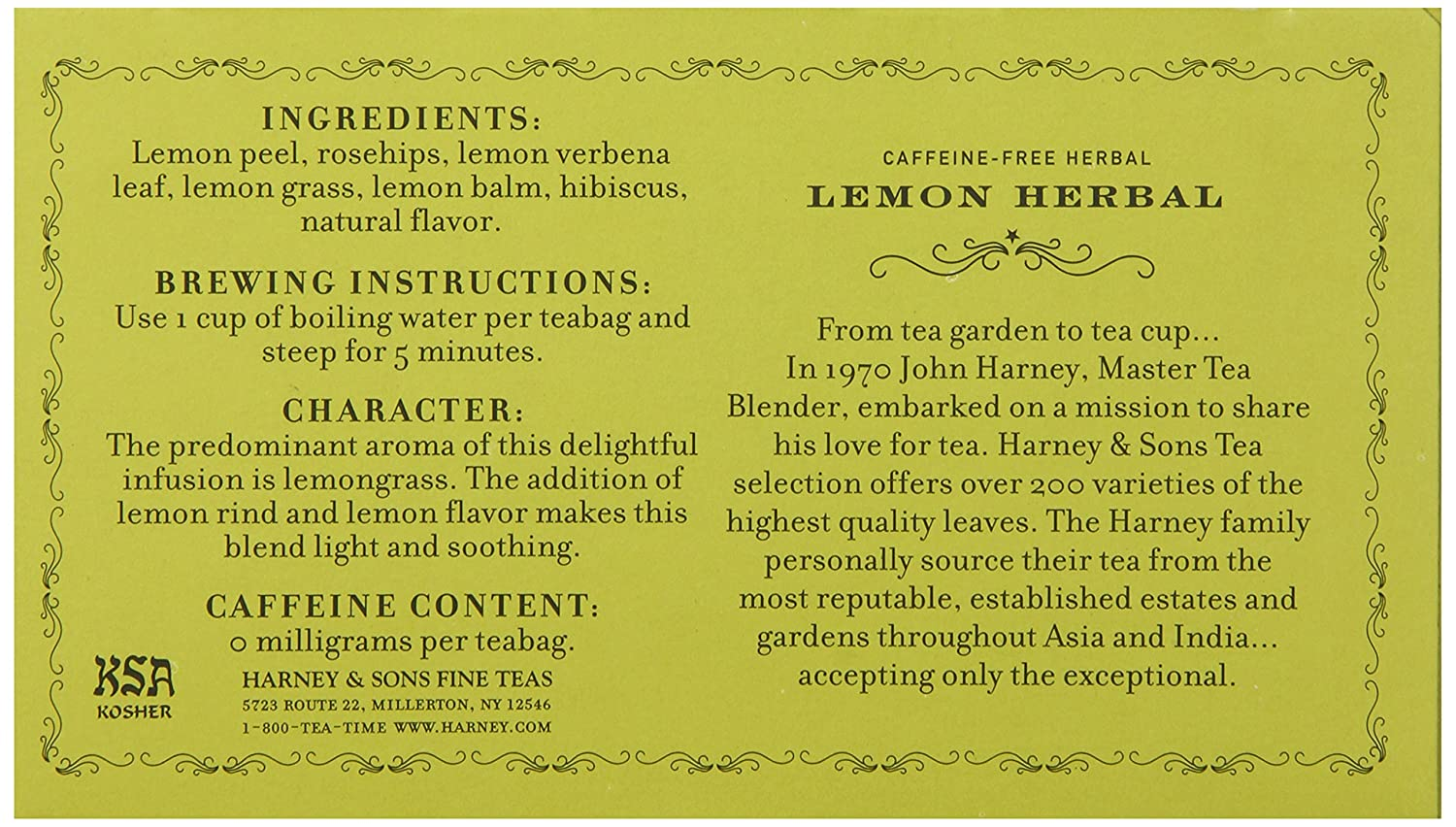 Harney & Sons Herbal Tea, Lemon, 50 Tea Bags