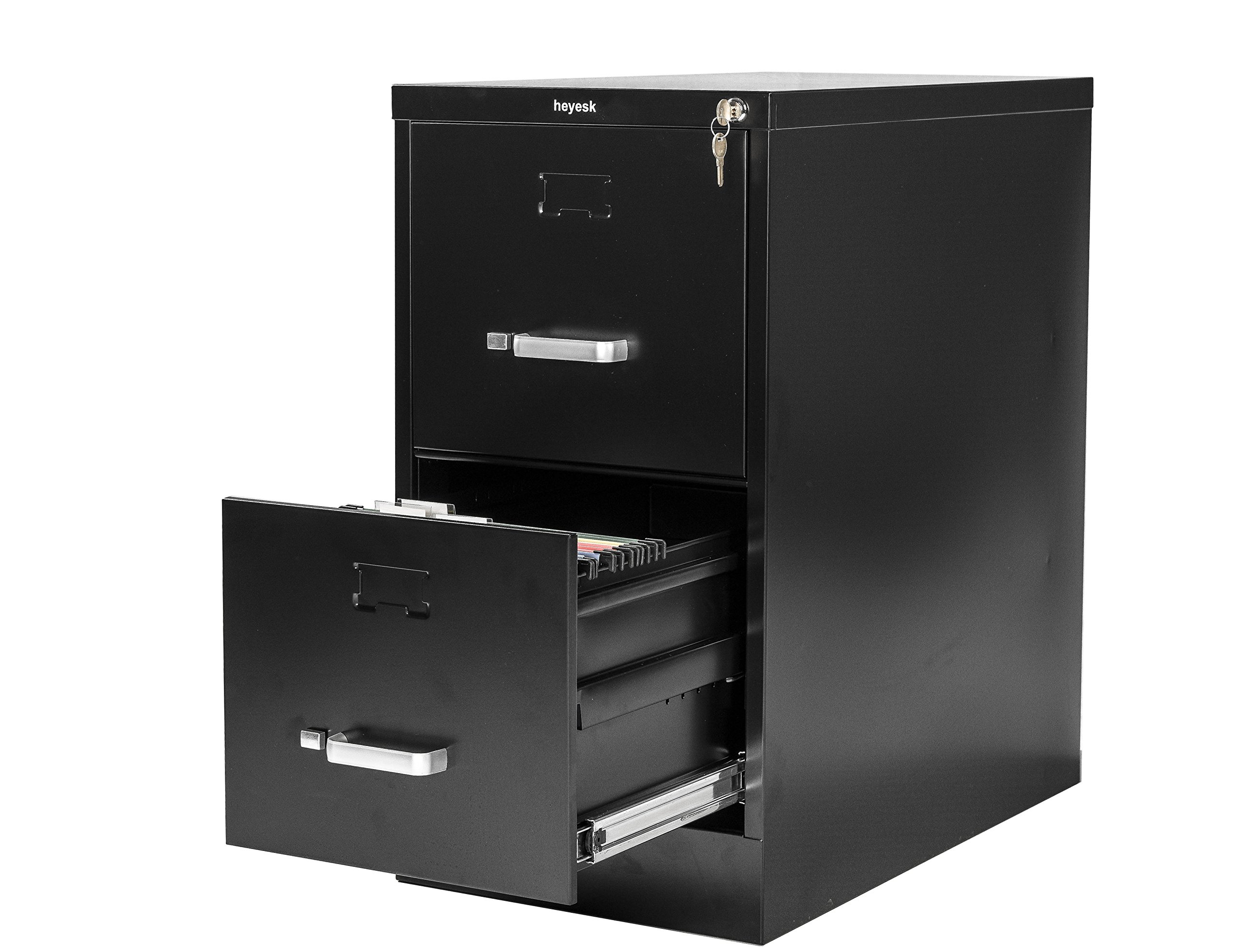 Yurucy 2 Drawer with Lock Metal File Cabinets Rails Hanging Files 26.5 Inch Deep for Office Home(Black)