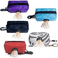 5 Pieces Dog Poop Bag Holder, Pet Garbage Bag Dispenser Holder Leash Attachment, 600d Oxford Cloth, Durable Metal Zipper…