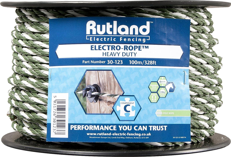 Rutland 30-121R Cordon de clôture électrique pour élevage/agriculture urbaine - Vert 200 m