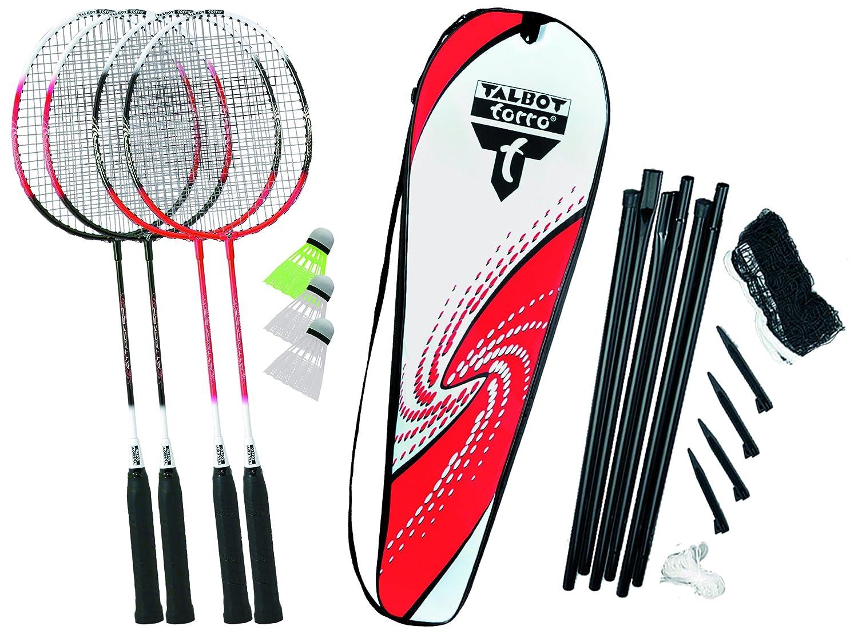 Talbot-Torro Badminton-Set 4-Attacker Plus, Kolmplettset mit 4 Schläger, 3 Federbälle, komplette Netzgarnitur, in wertiger Tasche 4 Schläger 3 Federbälle Komplettset Federballset