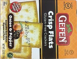 Gefen Crisp Flats Gluten Free Crackers Onion & Pepper Kosher For Passover 5.2oz. Pack of 1.