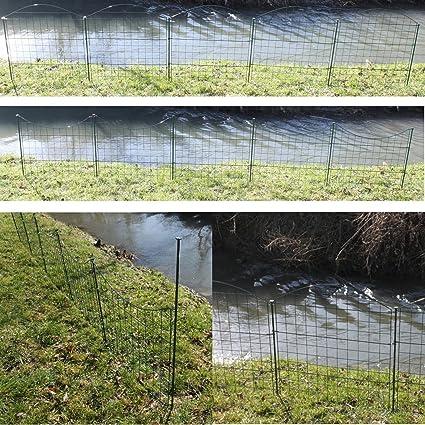Set completo de valla de rejilla para estanque, se puede elegir entre diseño con arco hacia arriba o hacia abajo, verja de jardín metálica, de color verde, 5 paneles de valla: Amazon.es: