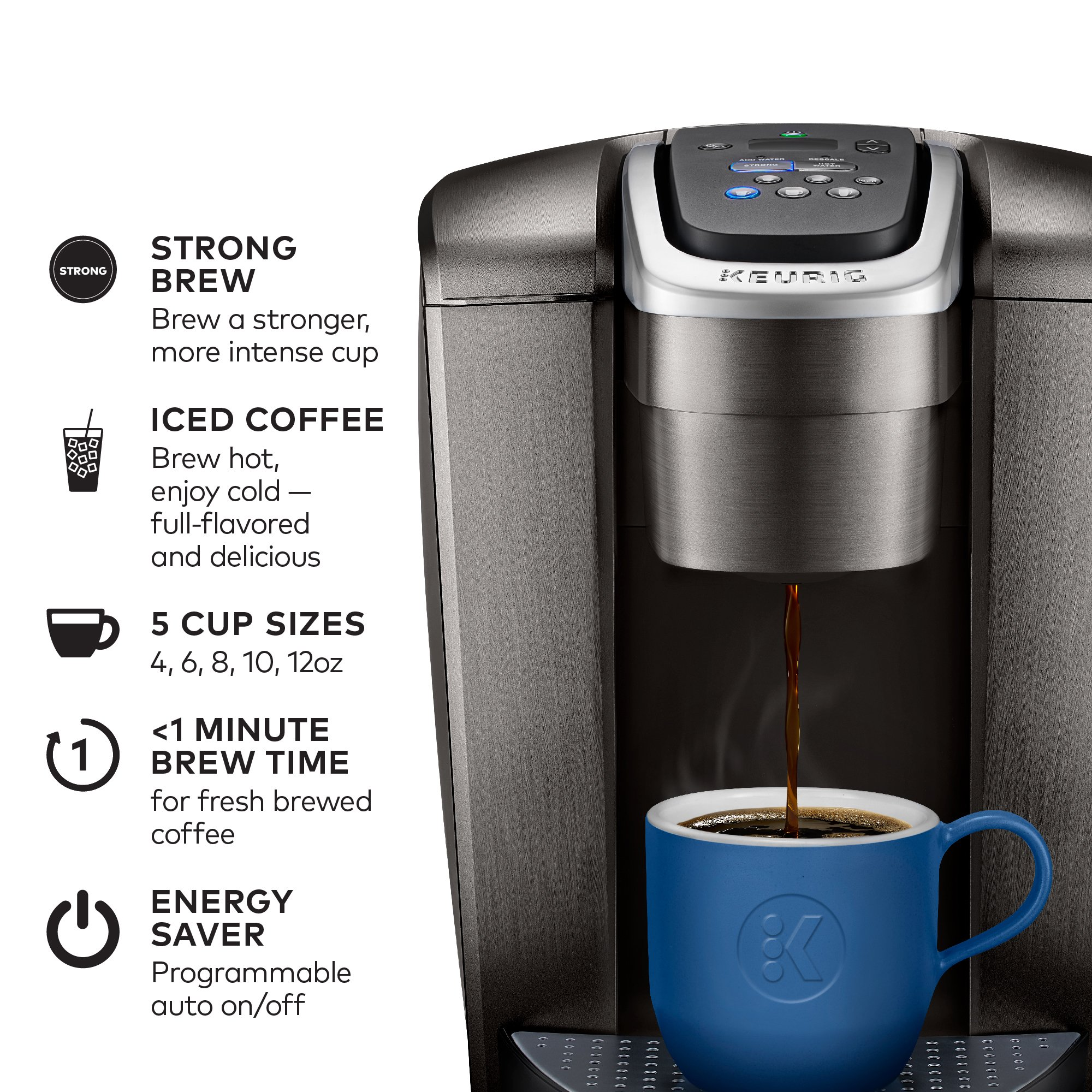 Keurig K-Elite K Single Serve K-Cup Pod Maker, with Strong Temperature Control, Iced Coffee Capability, 12oz Brew Size, Brushed Slate by Keurig (Image #2)