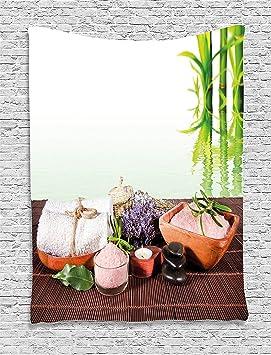 Supersoft manta de forro polar Spa toalla de bambú de fondo con flores vela y Zen caliente masaje piedras verde blanco y marrón: Amazon.es: Hogar