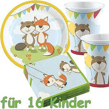 53 Juego De Set De Fiesta Fox Beaver Con 16 Platos 16 Vasos