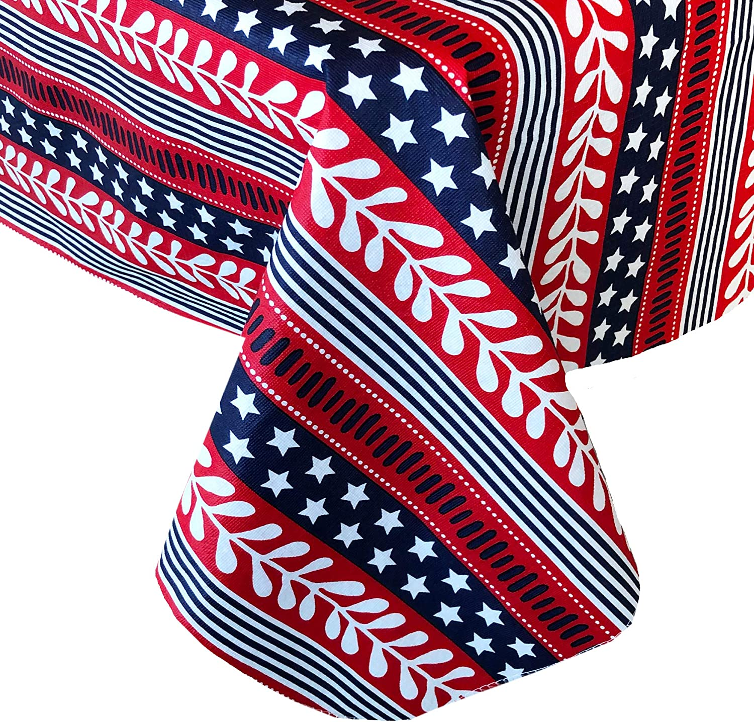 Home Bargains Plus Americana Stars and Stripes Print Vinyl Flannel Backed Tablecloth - Red, White and Blue Patriotic Indoor/Outdoor Tablecloth for Patio and Kitchen Dining - 60 Round