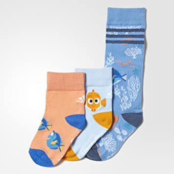 adidas Mädchen Finding Nemo, 3 Paar Socken, Light BlueIce