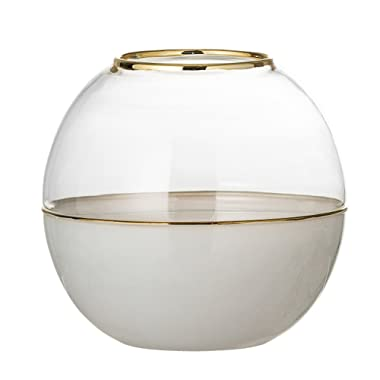 Bloomingville White Round Glass Dome Vase, 5.25