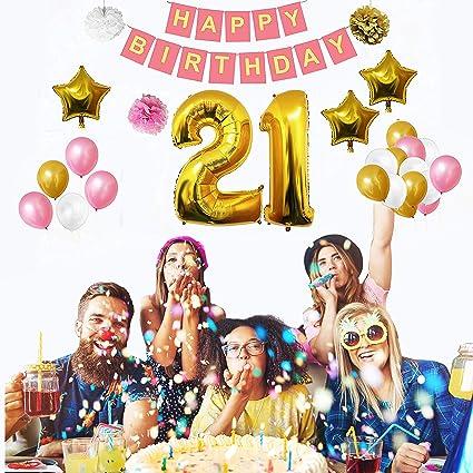 BELLE VOUS 21st Birthday Decorations 32 Pcs Happy Party Banner Set