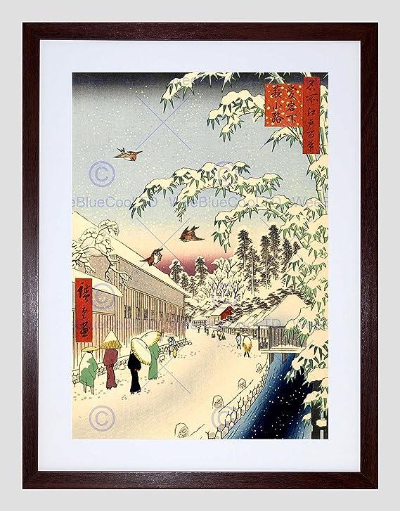 PAINTING JAPANESE WOODBLOCK WINTER STREET BLACK FRAMED ART PRINT B12X10837