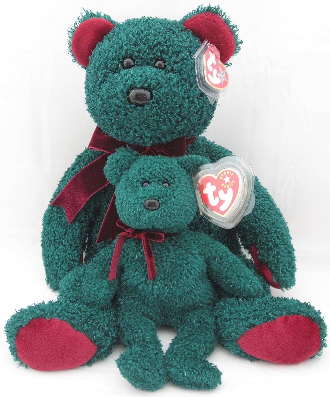 the Green /& Red Christmas Bear Ty Beanie Buddy 2001 HOLIDAY TEDDY