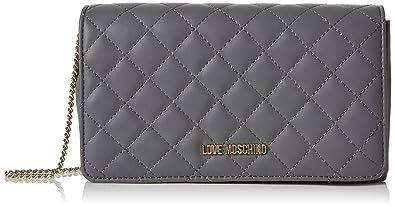 26c962f88 Love Moschino Borsa Nappa Quilted Pu Grigio, Women's Shoulder Bag, Grey,  6x14x22 cm
