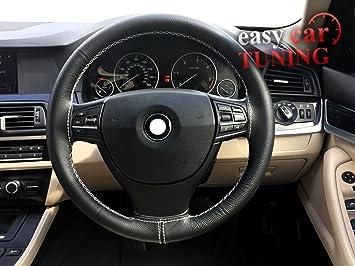 Black Real Echtes Leder Lenkradabdeckung Weiß Stiche Auto