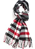 Veronz Super Soft Luxurious Classic Cashmere Feel Winter Scarf (Black Red Plaid)