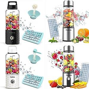 Portable Blender, PopBabies Personal Blender, Smoothie Blender. Rechargeable USB Blender Black&White&Tritan&Glass