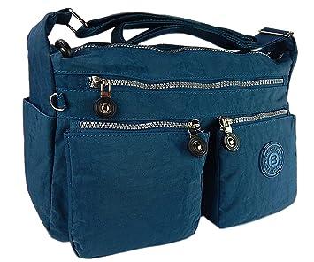 812ebb98c5ec4 Bag street hochwertige Damenhandtasche aus Crinkle Nylon Schultertasche  Sportliche Umhängetasche (Blau)
