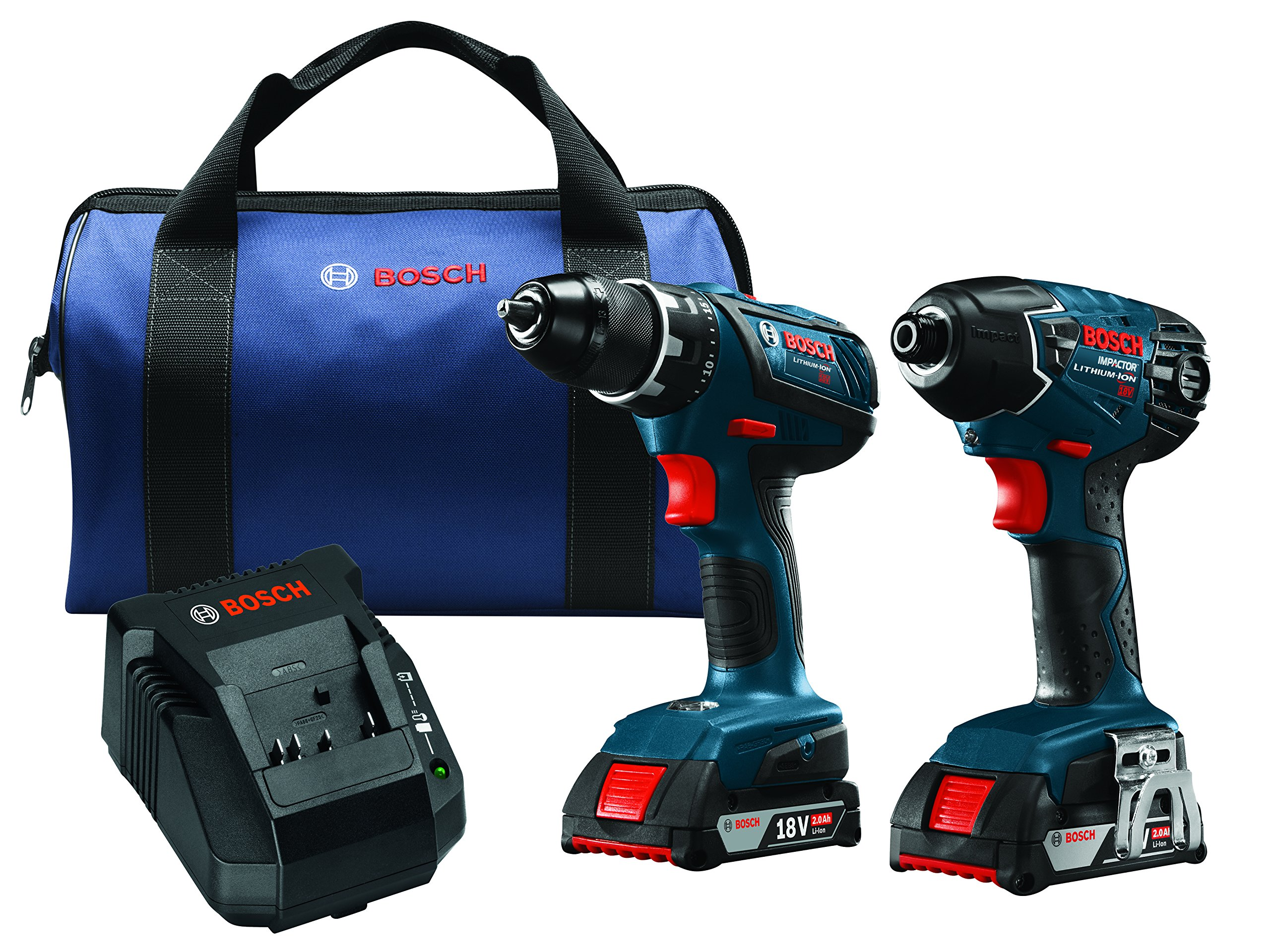 Bosch CLPK232A-181 18V Lithium-Ion Cordless Drill Driver / Impact Combo Kit (2.0 Ah Batteries) by Bosch