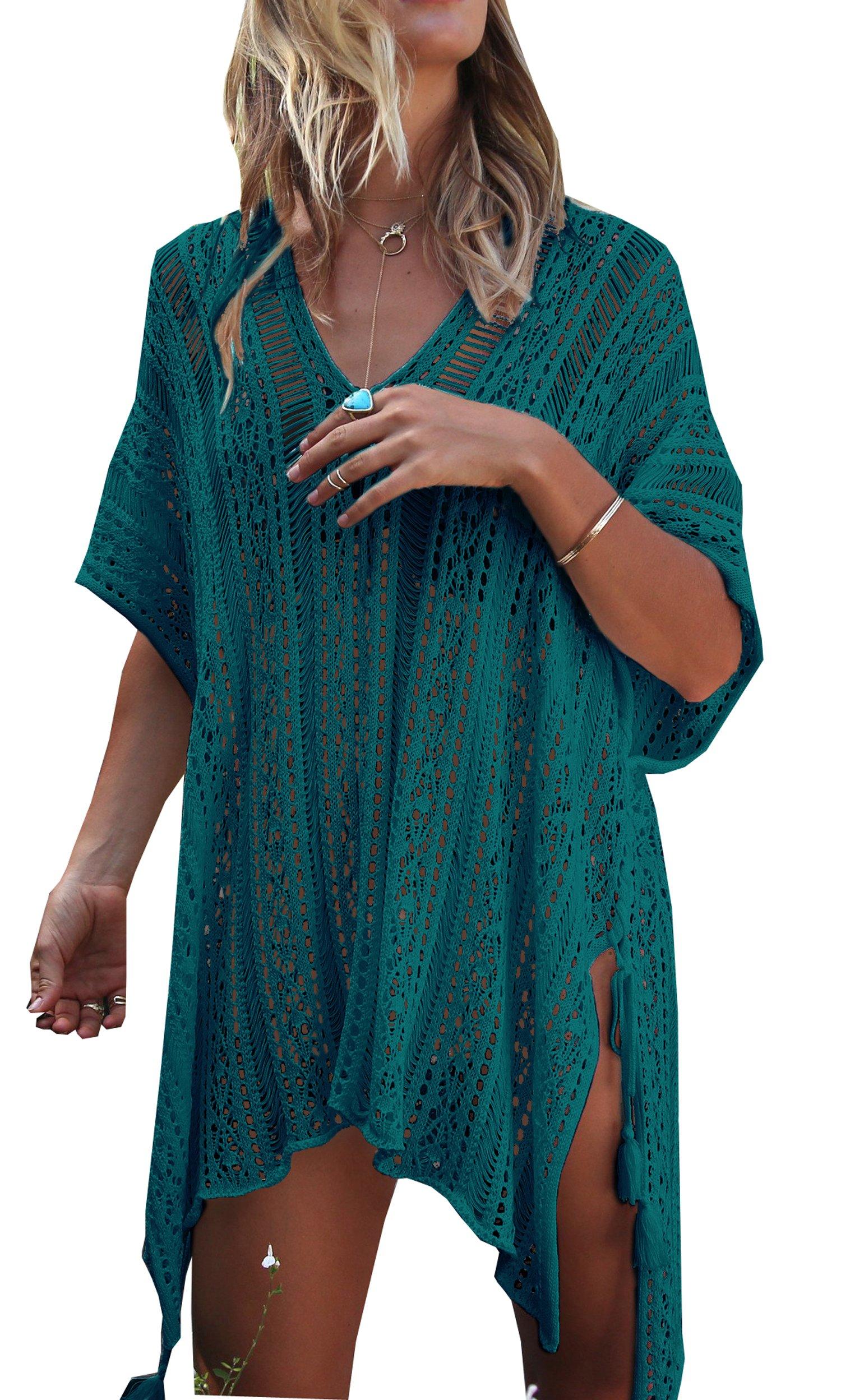 Wander Agio Beach Swimsuit For Women Sleeve Coverups Bikini Cover Up Net Slit Onesize Peacock Blue