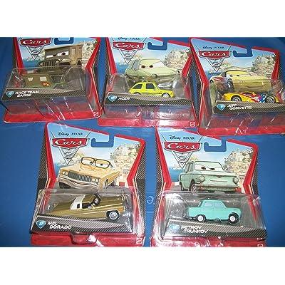 5 Piece Set Pixar Cars/Mel Dorado.Acer/ Race Team Sarge/Petrov Truckov/Jeff Corvette: Toys & Games