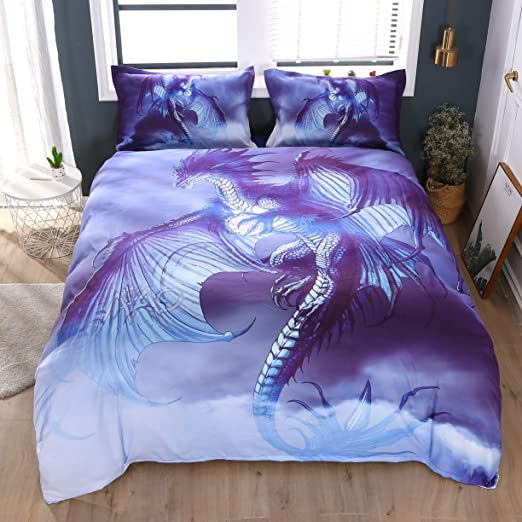 3D Purple Dinosaur Bedding Set Quilt Cover Flying Dragon Pillowcases Quilt Cover