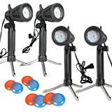 Slow Dolphin 4 Sets Photography Continuous LED Portable Light Lamp Lighting Kit for Table Top Photography Photo Studio with Color Filters(8 Pack)